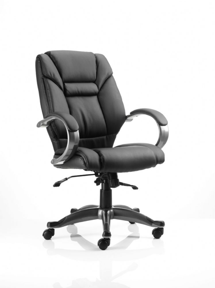 Galloway Executive Task Chair Fixed Padded Arms Twin Lever Lock Mech Office Black Bonded Leather